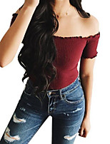 cheap -women's going out t-shirt - solid colored strapless