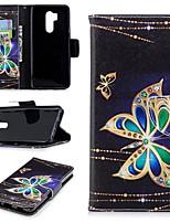 Недорогие -Кейс для Назначение LG G7 Кошелек / Бумажник для карт / со стендом Чехол Бабочка Твердый Кожа PU для LG G7