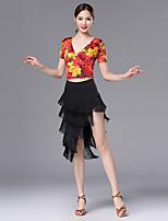 abordables -Baile Latino Accesorios Mujer Rendimiento Fibra de Leche / Seda Sintética Diseño / Estampado / Fruncido / Borla Manga Corta Cintura Baja Faldas / Top