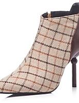 preiswerte -Damen Schuhe Nylon Frühling & Herbst Stiefeletten Stiefel Stöckelabsatz Spitze Zehe Booties / Stiefeletten Braun / Blau / Party & Festivität