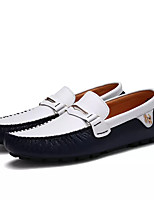 cheap -Men's Moccasin Cowhide Spring Loafers & Slip-Ons White / Black / White / Blue