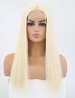 Недорогие -Синтетические кружевные передние парики Прямой Блондинка Средняя часть Искусственные волосы Жаропрочная Блондинка Парик Жен. Средняя длина Лента спереди / Да
