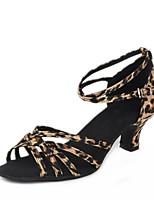 abordables -Mujer Zapatos de Baile Latino Satén Sandalia Tacón Cubano Personalizables Zapatos de baile Negro / Color Camello / Leopardo