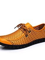 Недорогие -Муж. Комфортная обувь Наппа Leather Весна Кеды Темно-синий / Желтый / Коричневый