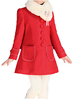 cheap -Kids Girls' Basic / Street chic Going out Solid Colored Bow / Fur Trim Long Sleeve Cotton Jacket & Coat