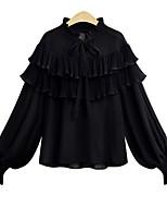 baratos -Mulheres Blusa - Para Noite Sólido Colarinho Chinês