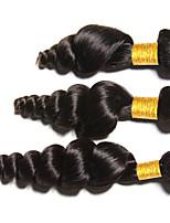 Недорогие -3 Связки Индийские волосы / Монгольские волосы Свободные волны Необработанные / Натуральные волосы Человека ткет Волосы / Сувениры для чаепития / Пучок волос 8-28 дюймовый Естественный цвет
