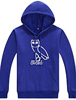 cheap -Men's Basic Hoodie - Color Block / Character / Bird