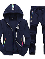 cheap -Men's Basic Long Sleeve Activewear Set - Letter Hooded