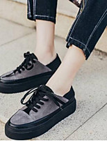 cheap -Women's Shoes Nappa Leather Spring / Summer Comfort Sneakers Flat Heel Closed Toe Black / Gray
