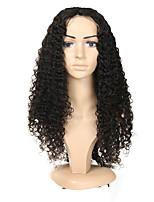 Недорогие -Натуральные волосы Полностью ленточные Парик Бразильские волосы Кудрявый Парик Ассиметричная стрижка 130% / 150% / 180% Без запаха / Шерсть / Новое поступление Черный Жен. Средняя длина / Мода