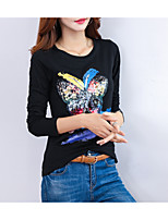 cheap -Women's T-shirt - Solid Colored / Geometric / Letter Butterfly, Print
