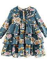 Недорогие -Дети (1-4 лет) Девочки Цветочный принт Длинный рукав Платье