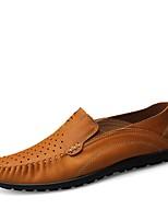 abordables -Hombre Cuero de Napa Verano Confort Zapatos de taco bajo y Slip-On Azul / Marrón Claro / Caqui