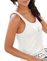 cheap -women's tank top - solid colored crew neck