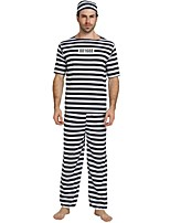 cheap -Prisoner Costume Men's Halloween Carnival Masquerade Festival / Holiday Halloween Costumes Outfits Black Solid Colored Striped Halloween Halloween