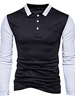 cheap -Men's Cotton Polo - Color Block Shirt Collar / Long Sleeve