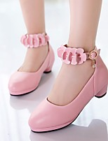 cheap -Girls' Shoes PU(Polyurethane) Spring &  Fall Flower Girl Shoes / Tiny Heels for Teens Heels for White / Black / Pink
