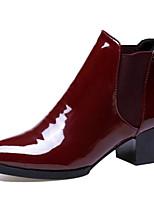abordables -Femme Chaussures Faux Cuir / Polyuréthane Automne Bottes à la Mode Bottes Talon Bottier Bout pointu Bottine / Demi Botte Noir / Vin