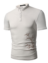cheap -Men's Basic Polo - Floral Embroidered