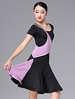 cheap -Latin Dance Dresses Women's Performance Milk Fiber Ruching / Split Joint Short Sleeve Dress