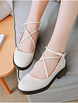 cheap -Women's Shoes Nappa Leather Summer Comfort Flats Low Heel Closed Toe White / Black / Yellow