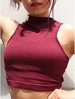 abordables -Mujer Tank Tops, Cuello Barco Un Color