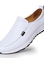 abordables -Hombre Cuero de Napa Verano Confort Zapatos de taco bajo y Slip-On Naranja / Azul Oscuro / Marrón