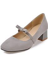 Недорогие -Жен. Обувь Микроволокно Осень Удобная обувь Обувь на каблуках На толстом каблуке Квадратный носок Бант Черный / Серый / Красный