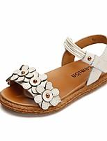 cheap -Girls' Shoes Cowhide Summer Comfort Sandals for Black / Beige / Light Brown