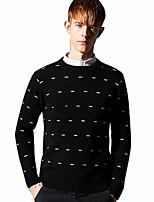 Недорогие -Муж. Классический Пуловер - Геометрический принт