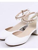 Недорогие -Жен. Обувь Полиуретан Весна Удобная обувь Обувь на каблуках На толстом каблуке Белый / Розовый