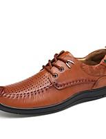 Недорогие -Муж. Наппа Leather Лето Удобная обувь Туфли на шнуровке Черный / Коричневый / Темно-коричневый
