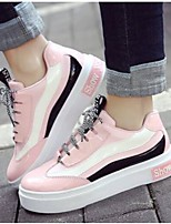 cheap -Women's Shoes Patent Leather Spring & Summer Comfort Sneakers Flat Heel White / Black / Pink