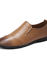 cheap -Men's Moccasin Cowhide Fall Loafers & Slip-Ons Black / Brown / Khaki