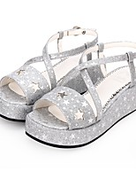 cheap -Lolita Shoes Gothic Lolita Dress Princess Lolita Wedge Heel Shoes Pattern 5 cm CM Black / Silver / Brown For PU(Polyurethane)