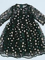 Недорогие -Дети Девочки Однотонный Рукав до локтя Платье