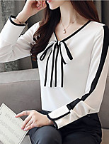 cheap -Women's Business / Basic Blouse - Solid Colored Bow / Tassel / Lace up