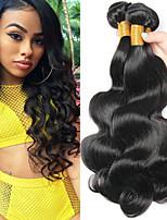 billige -4 pakker Brasiliansk hår Krop Bølge Ubehandlet / Menneskehår Menneskehår, Bølget / Kosmetiktilbehør / Udvidelse 8-28 inch Menneskehår Vævninger Cosplay / Blød / Hot Salg Naturlig Farve Menneskehår