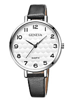 cheap -Geneva Women's Wrist Watch Quartz New Design Casual Watch Cool Leather Band Analog Casual Fashion Black / Brown - Brown Black / White White / Brown One Year Battery Life