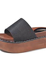 cheap -Women's Shoes PU(Polyurethane) Summer Comfort Slippers & Flip-Flops Creepers Round Toe Gold / Black