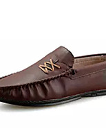 cheap -Men's Moccasin PU(Polyurethane) Spring Loafers & Slip-Ons Black / Brown / Khaki