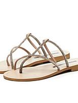 cheap -Women's Shoes Suede Summer Comfort Slippers & Flip-Flops Flat Heel Open Toe Black / Silver / Almond