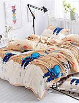 baratos -Velocino de Coral, Estampa Pigmentada Desenho Animado Algodão / Poliéster cobertores