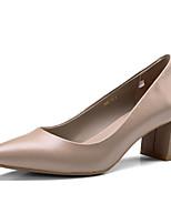 cheap -Women's Shoes Nappa Leather Spring / Fall Comfort / Basic Pump Heels Chunky Heel Black / Light Yellow / Nude