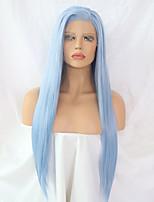 Недорогие -Синтетические кружевные передние парики Прямой Боковая часть Искусственные волосы Регулируется / Жаропрочная Синий Парик Жен. Длинные Лента спереди / Да