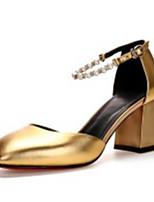 Недорогие -Жен. Обувь Наппа Leather Весна Удобная обувь / Туфли лодочки Обувь на каблуках На толстом каблуке Золотой / Серебряный / Розовый