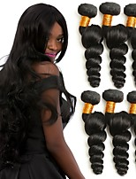 Недорогие -6 Связок Малазийские волосы Волнистый Натуральные волосы Человека ткет Волосы / One Pack Solution / Накладки из натуральных волос 8-28 дюймовый Ткет человеческих волос / Мода