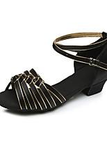 baratos -Para Meninas Sapatos de Dança Latina Cetim Salto Salto Grosso Personalizável Sapatos de Dança Preto e Dourado / Vermelho / Preto / Vermelho