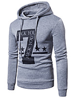 cheap -Men's Active / Basic Hoodie - Color Block / Character / Letter, Print